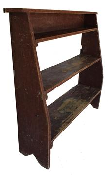 C172 19th century Pennsylvania Bucket Bench with the original red paint, three graduating shelves, showing wonderful wear, the top is dovetailed slotted onto the sides, circa 1850�s  all original Measurements are: 47 1/2� tall x 42 1/2� wide x 12 1/2� deep