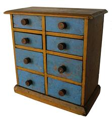 C91 19th century Ohio ,Spice Chest , eight graduated drawers with the original mustard and blue paint, original knobs