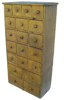 Y301 Early 19th century Pennsylvania wonderful sizes and drawer layout, with graduate drawers. old true mustard paint over the original red. Square head nails construction, the dividers for the drawers are mortised through the top. circa 1820 - 1840