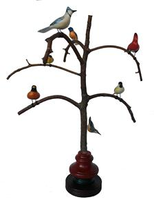 B497 Ken Kirby (American, 20th Century) Folk Art Bird Tree, with seven beautiful polychromed painted and hand  carved wood Birds resting on a steamed and bent branch resting on a colorful base , 23 inches (height), inscribed, signed and dated