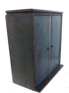 "RM679 Early 19th century Maryland  Hanging Cupboard,  with old blue ove the original bittersweet paint, rose head and square head nail construction, found in Annapolis Maryland Measurements are: 22"" wide x 22"" tall x 10 1/4"" deep"