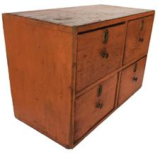 "D196 19th century four drawer Apothecary, with the original persimmon paint, dovetailed case and dovetailed drawers, the drawers have the original locks and escuteions. Measurements are 18' wide x 9"" deep x 12"" tall"