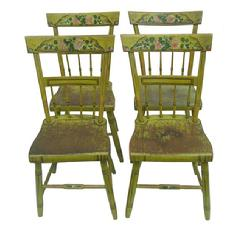 W310 Set of four paint decorated Pennsylvania chairs,   with half-spindle backs and plank seats. circa 1845-1865, central Pennsylvania,  The set is in great condition