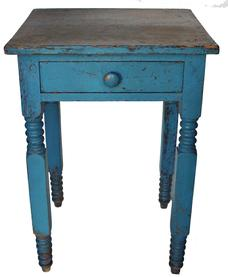 "LL22 19th century New York one drawers stand, with beautiful blue paint, the drawer is dovetailed, very unusual turned legs, the wood is pine circa 1820 -1840 measurements are: 18"" deep x 20"" wide x 28 3/4"" tall"