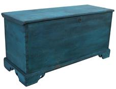 "X32  SUSSEX COUNTY, DELAWARE BLUE PAINTED PINE BLANKET CHEST,six booard construction, with a dovetailed case applied bracket dovetailed base, original hardward,interior tile, outstanding blue and black paint circa 1820-1840 Measurements 44 1/4 x 171/2 deep x22 1/2"" tall"
