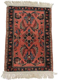 "C218 Early  Orinial Rug, with a salmon background, medium and dark blue design  24 1/2"" wide x 36"" long"