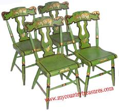 Fine set of four mid 19th century Pennsylvania green paint decorated  plank seat side Chairs.