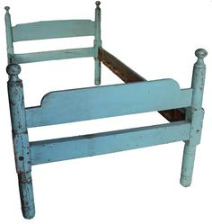 D169 19th century single Bed with wonderful old blue paint, cannon ball turned post,