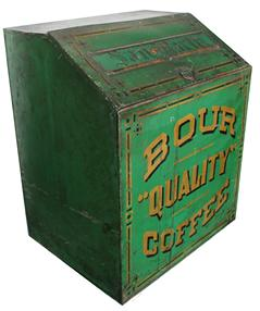 Y195 Bour Coffee Store Bin;JM Bour Co,  Tin, Painted & Stenciled, green with gold lettering , 19 inch.   A Toledo, Ohio store bin, late 19th or early 20th century, painted tin.