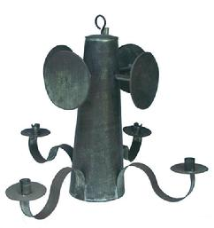 RM44 Early 20th century New England,Hanging tin Chandelier, with four wide  curved arm extensions and four tin fluted, crimped candle bobeches that are form  four  single deep welled wide candle sockets, with four round candle  reflectors,