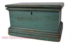 RM 625 Early 19th century New England Document Box in the original  blue paint surface, square head nail construction, with a tall molded base,