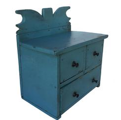 "D225 Late 19th century three drawer Spice Chest, early blue over the original blue, square nail construction, with a high cut out design (folky)  back splash, early restoration to the back splashby home owner. 6 1/4"" deep x 10 1/4"" wide x 10 1/2"" tall"