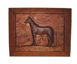 RM68 Early York Co. Pennsylvania Folk Art Relief carved Horse, white pine board with walnut carved horse applied.