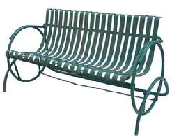 "Z123 Early 20th century Settee Iron  Glider with wonderful green paint,Settee features  ribbon shaped splats -  from a private home in Oxford Pennslyvania  Measures 30 1/2"" deep x 55"" wide"