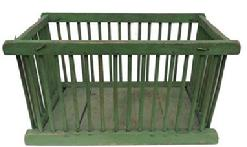 Z444 Late 19th century Produce Crib, sturdy wooden basket, made from dowels and a wooden bottom,spacers between the dowels, for ventilation,   with the original apple green paint,