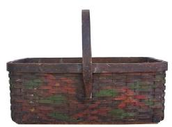 Z6 Early 20th century paint decorated Vegetable gathering Basket, with reinforced bottom, hand carved steamped and bent handle the back ground color is black with red and green decoration.