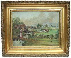 "D220 Oil on canvas Countryside scene, with the original gold gilt frame , this painting has been cleaned and  professionally restored. circa 1880 Measurement  33"" wide x 27"" tall 3 3/4"" deep"