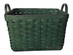 A163 19th century wonderful gathering Basket from Pennsylvania, with wonderful original Green-paint,Woven Splint Basket, this Basket is a square with two carved hardwood handles, with beautiful green paint and patina outstanding condition