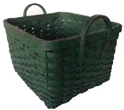 A163 19th century wonderful gathering Basket from Pennsylvania, with wonderful original Green-paint,Woven Splint Basket, it is a square with  two carved hardwood handles,