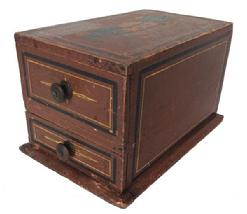 A246 19th century Pennsylvania paint decorated  Sewing Box ; with two square head nailed drawers  with knobs and retaining the original red painted surface with pinstripe decoration and �WHB� painted  on top surface,