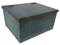 A248 Early 19th century Pennslyvania painted Document Box ca. 1820; softwood with applied molding on lid, and a mortise lock, butt hinges and retaining the original blue-painted surface,  10�x 8 1/8�x 5 1/8�