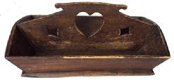 A291 Wooden Cutlery Box, cut out heart and diamonds square head nailed construction original surface