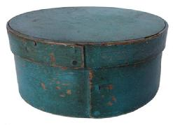 "A340 19th century New England original robin egg blue  painted Pantry Box, wonderful dry surface, excellent condition, heavy construction  6 3/4"" diameter x 2 3/4"" tall Condition: Good with little use wear"