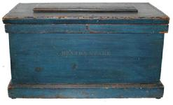 **SOLD** B109 19th century  pine tool chest having a single sliding tray,  ca. 1860 lid with applied panel, a molded base and retaining the original painted surface with stenciled name �Denton Stake�,