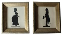 B261  19th century pair of cut silhouette of a Lady and Gentelman, consisting of cream colored paper, The silhouette is inset into a gilded frame and protected with glass