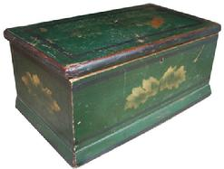 W390 19th century New England painted decorated  storage box; with gold leaf decoration on a green background with black pin striping ,applied molding. The interior  is natural patina, with original hardware  .12 1/2� wide x 5 1/2� tall 7� deep
