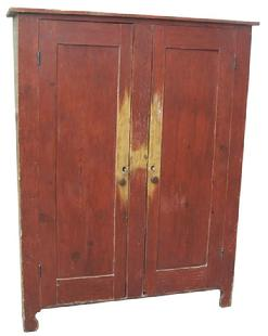 N471 Eastern Shore Maryland Early 19th century Linen Press, with the original red paint, with a center divider, and a nice high cut out foot.