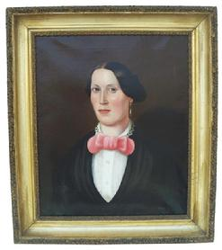 "Q113 Oil on canvas ,American Portrait of  a Lady Circa 1835- Attributed to Noah  Norm  of  New York.  In a period frame, professional  cleaned and repaired 26 1/2"" wide x 30"" tall"