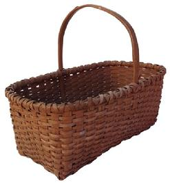 Z576 Late 19th century Gathering Basket with the original nutmeg paint, single wrapped rim with a nice high steamed and bent handle, tightly woven.