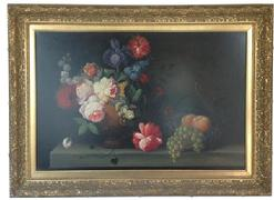 P89 Original still life painting, oil on canvas, by known artist Terence Alexander.Beautiful large Still life of Flowers, Late 19th century, American, Oil Painting is on stretched canvas. Depicting a Stillife of fruit signed Terence Alexander .