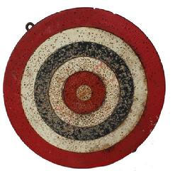RM541 Early Patriotic wooden red white and blue original painted folk art, two-sided dart board. The two-sided dart board has seen much use, and one side has more wear than the other. (circa 1900)