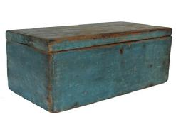 RM663 Early 19th century New England Document Box in the original dry robin egg blue paint surface, square head nail construction, with a thick beaded edge to the front and back of the lid. Natural patina on the inside with a divider