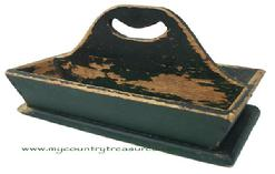 T346 Pennsylvania original green painted Cutlery Tray , with a nice high handle, the inside of the tray is showing wear from use, flared sided, nailed construction with square head nails. A nice addition to any collection  circa 1850