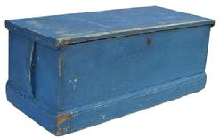 T70 19th Century original blue painted Seaman's Chest one board  construction,  dovetailed case,with applied molding