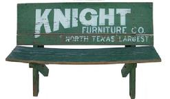 SP1 Early 20th century Advertising Bench from Gainesville, TX ?, for Knight Furniture Store, they went in business in 1913, they Bench has it�s original green paint with white letters. This Bench sat in front of a store, all original
