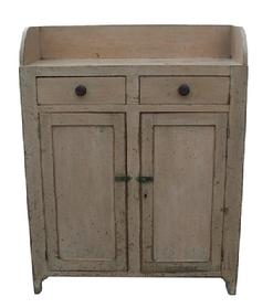 V435 19th century Jelly Cupboard from Berk's County with old mustard over the original red