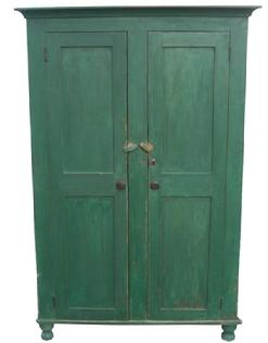 X551 19th century Lancaster Co. Pennsylvania Storage Cupboard wonderful green paint, applied molding, with a nice turn foot, dovetailed case, the interior of the cupboard is all naturial patina, the top shelf has a dovetail slot for spoons circa 1840