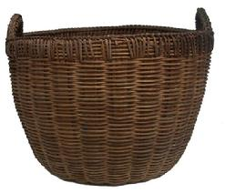X573 Late 19th century intricately woven Basket from Seaford Delaware, with a double wrapped rim and braided on top of rim and handles for reinforcement, this is a rare and beautiful Basket natural patina, from a private collection,