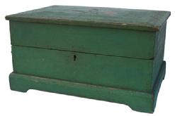 "X73 Green Painted Softwood Lift Lid Desk Table Chest. Dovetail construction. Lid is compartmented with a hinged writing surface and separated from the lower section at mid height. Lower section is open and has an open till. Keyhole and cavity for lock, lock missing. Box body resting on a bracket foot base. Lid has old gold and red stencil decorations. 7 1/4""h. X 13 5/8""w. X 9 1/4""d. Condition: Good with use wear."