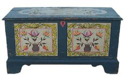 "Z179 19th century  Blanket Chest from West Chester Pa. small size, with  two painted panels on the front, painted top with Birds and Hearts,  and Flowers decoration. This wonderful Chest has dovetaile case and applied dovetaile feet, the wood is pine,  From the Estate of Alice McKelvie Eastburn of Ocean Pines Maryland and formerly of West Chester Pennslyvania, circa 1840 -1850  Measurements are  29"" long x 13 1/4"" deep x 15"" tall"