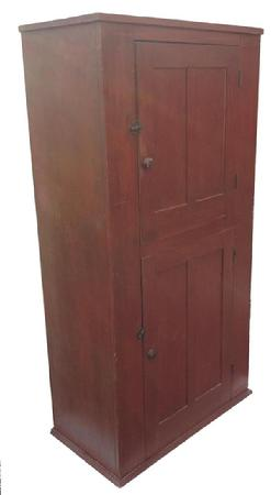 Z565 19th century Pennsylvania two door original red painted wall cupboard, circa 1850, with two sunken panel doors, the interior of the Wall Cupboard has old naturial interior Image Properties