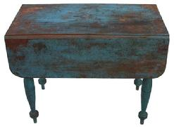 WL1 Mid  19th century New England  drop leaf table, with old Robin Egg blue paint over the original red,, very gracefully turned legs, one board construction.