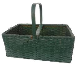 Y362 Later 19th century New England Basket very unusual, with the original green paint, this Basket was used for caring food with a high steamed and bent and notched handle, with a divider across the center, for hold up the cover cloth to keep it from falling on the food