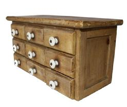 B280 Late 19th century mustard apothecary Spice Chest, the beautiful paint is original , all original knobs, , the wood is pine, circa 1870