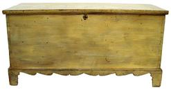 "W8 Sheandorah Valley Virginia Blanket ChestWith the original mustard paint,very unusual form with the applied scalloped base, dovetailed case, the interior has  a sliding tray to store small lines or small article of clothing. the wood is white pine , the bottom is held in place with tee nails and square head nails.  circa 1810- 1820Measurements are: 491/4"" long x 24 1/2"" tall x 21"" deep"