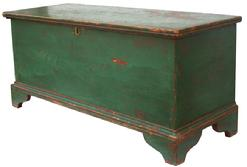 "V263 Pennsylvania  Blanket Chest with old green over the original red paint, with an applied bracket base dovetailed case, circa 1840 40"" wide x 15 3/4"" deep x 18"" tall"